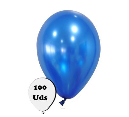 100 globos metalizados azul oscuro
