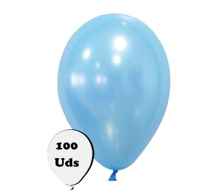 100 globos metalizados celeste