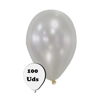 100 globos metalizados plata