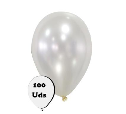 100 globos metalizados perla