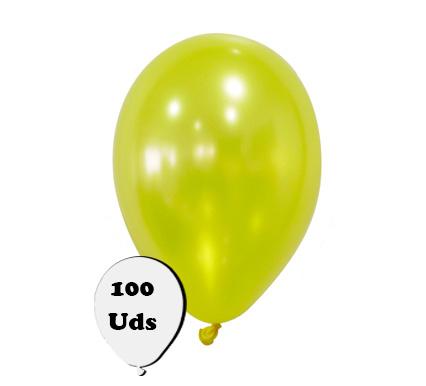 100 globos metalizados amarillos