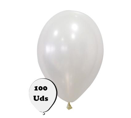 100 globos metalizados blanco