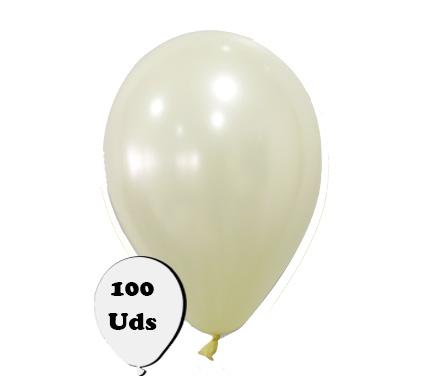 100 globos metalizados marfil